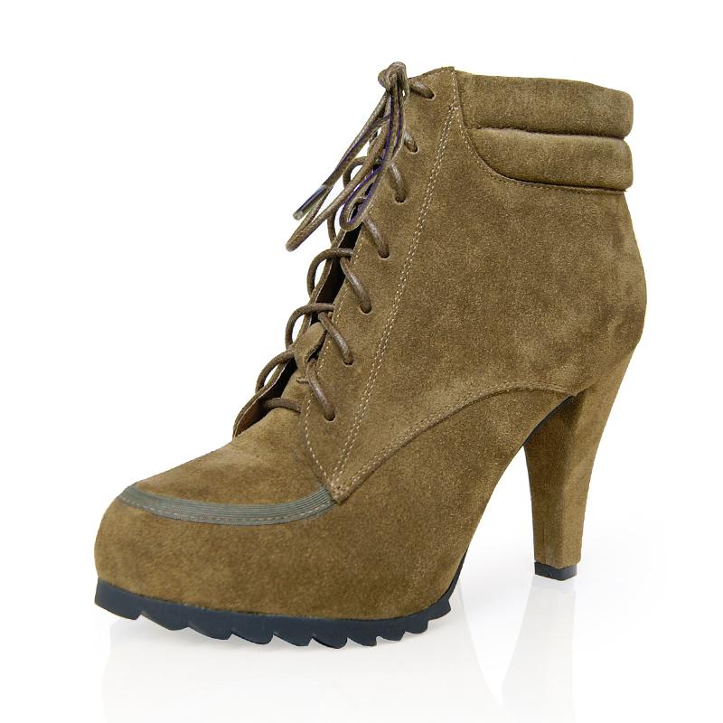 梦妹猫新款 里外真皮 全牛皮短靴 防水台 马丁靴 靴子