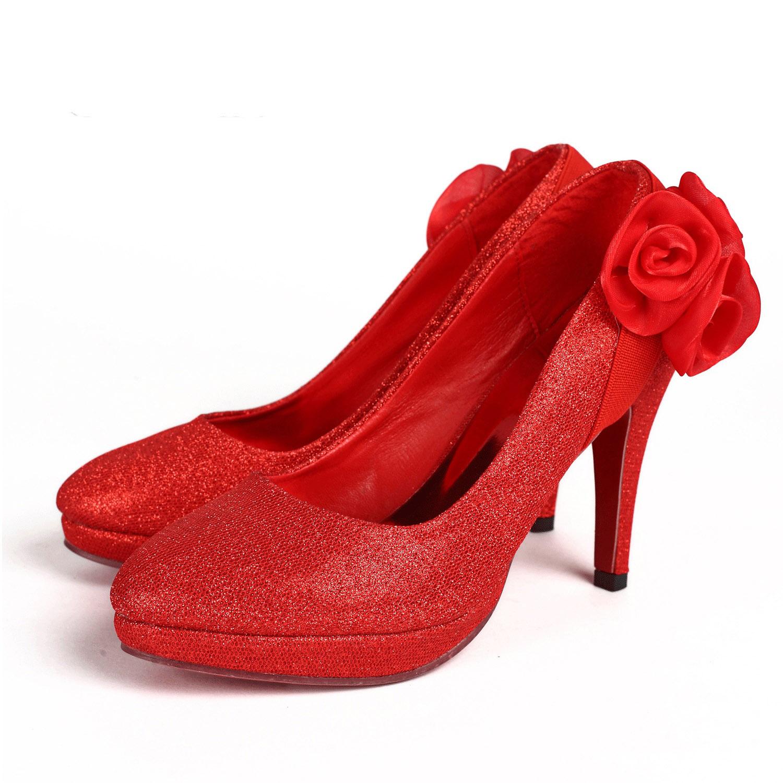 Neytiri 婚鞋 防水台超高跟单鞋 结婚鞋 金色红色婚鞋 新娘鞋子