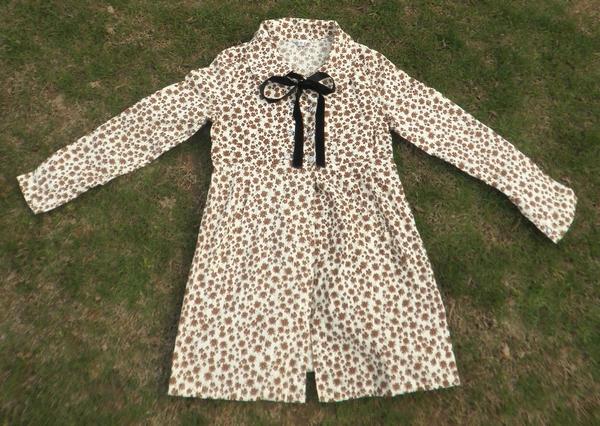женская рубашка OTHER Милый Длинный рукав Рисунок в цветочек Бантик бабочкой Гофрированный воротник