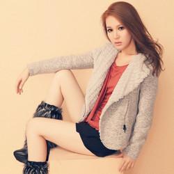 大翻领羊羔毛修身加厚毛呢短外套粗花呢SHEWILL春装新款韩版女装
