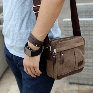 Shepherd Plaza men's shoulder bags canvas Small Crossbody bag casual male Korean wave package