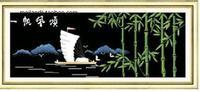 14年老店|一帆风顺节节高十字绣黑布|法国DMC线|免费画格