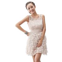 2012新款夏装欧美手工钉珠花瓣装饰雪纺小礼服连衣裙