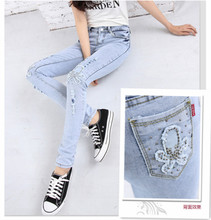 Niuzaiku during the spring and autumn female feet pants show thin elastic jeans hole in light color with drill leggings pencil pants