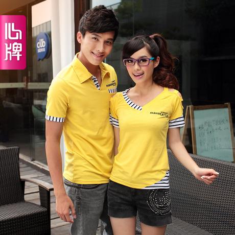 2012新款情侣装夏装 韩版条纹短袖T恤情侣衫