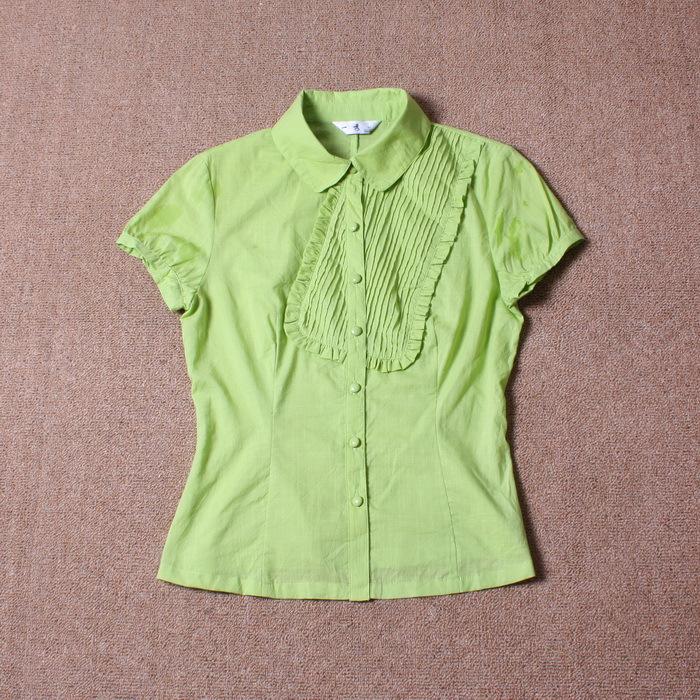 женская рубашка Other Повседневный Короткий рукав Однотонный цвет
