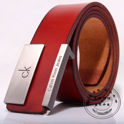CK & amp; within VM men wear smooth buckle belt leather red-brown natal Korean professional dress wedding belt