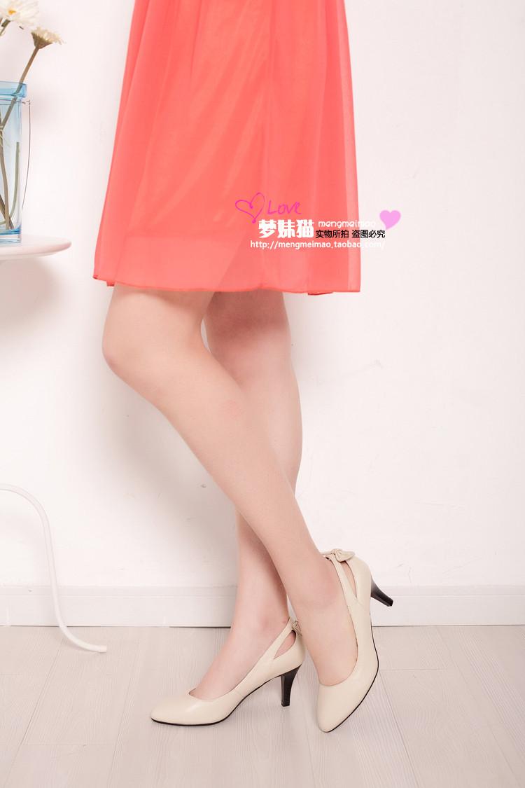 梦妹猫 热卖超舒适全羊皮气质时尚百搭高跟单鞋 33-40