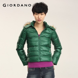 2012 new Giordano Jacket Women's wear skinny qingnuan detachable cap down jacket 01371599