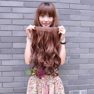Black hair-high temperature wire hair piece wig piece slightly curly hair piece in  simulation is not reflective of long clamp