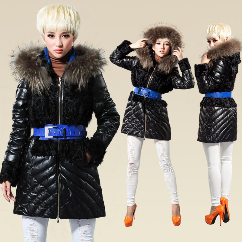 中长款进口绵羊皮修身羽绒外套羊羔毛拼接大衣