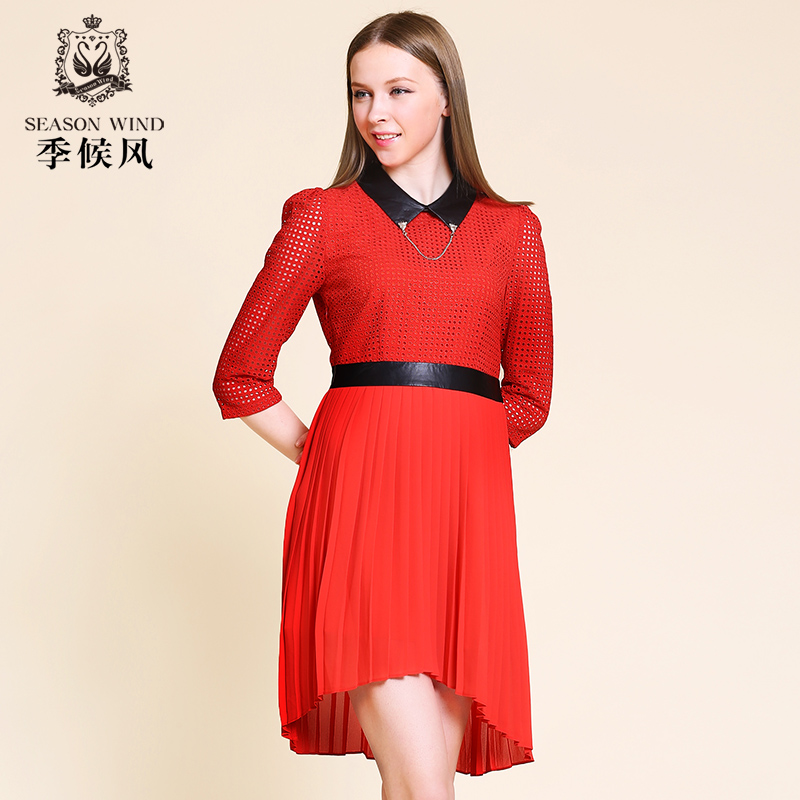 季候风2014新款夏装 镂空雪纺长袖翻领修身长裙连衣裙