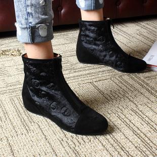 欧洲站秋新款真皮马毛内增高黑色骷髅头裸靴女靴正品短靴坡跟单靴
