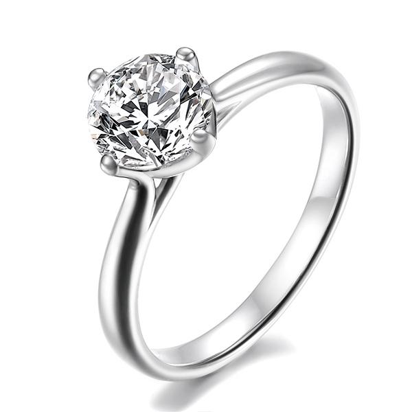 一克拉18K 钻石 钻石戒指 女戒 钻戒 裸钻 四爪 婚期 专柜正品 特