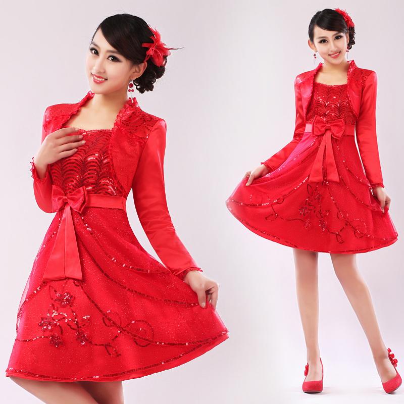 Вечернее платье Платья свадебные красный свадебное платье короткий и сладкий маленькая принцесса платье красивая свадебное платье платье с длинным рукавом