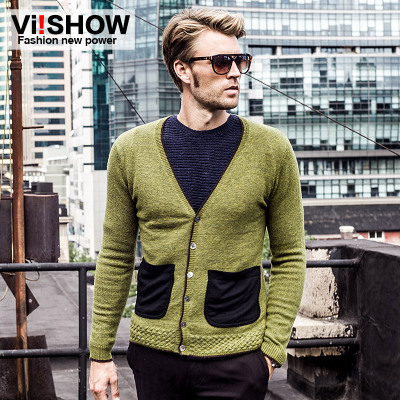 Clearance viishow autumn cardigan sweater men Slim V-neck sweater men Tide brand clothing line knit sweater