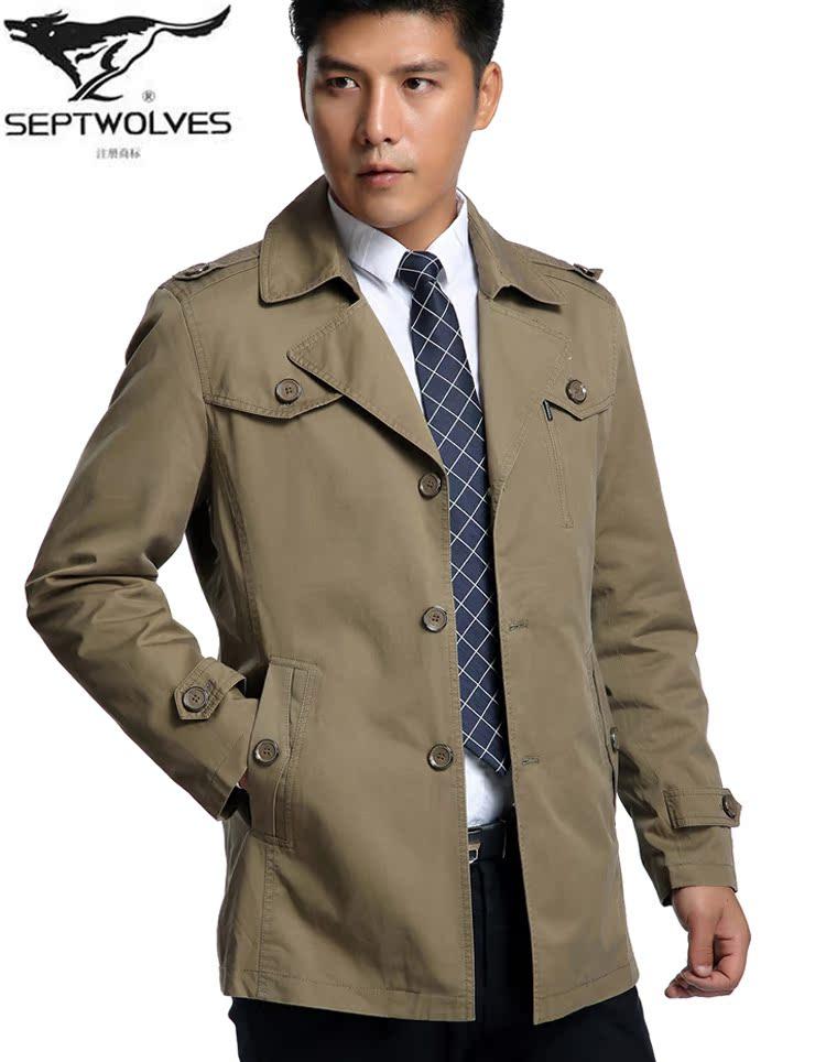 2014春裝新款精品風衣七匹狼男裝中長款外套翻領男士商務中年上衣圖片