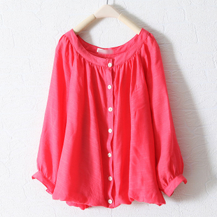 2012 hot new spring clothing Korean Delta short loose a solid color shirt with round neck long sleeves shirt women WC975