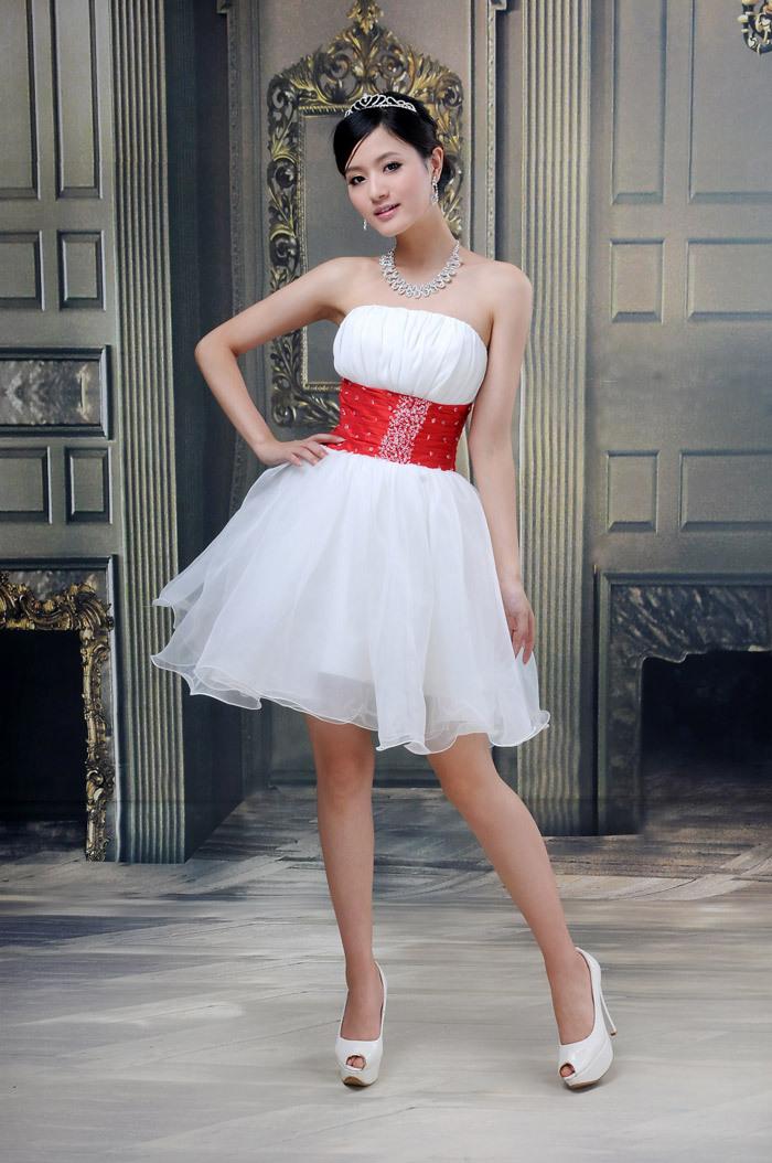 Вечерние платья Принцесса жениться брендов для новобрачных красный талии Раффлед горный хрусталь эгидой белый Шелковый коктейльное платье невесты платье костюм