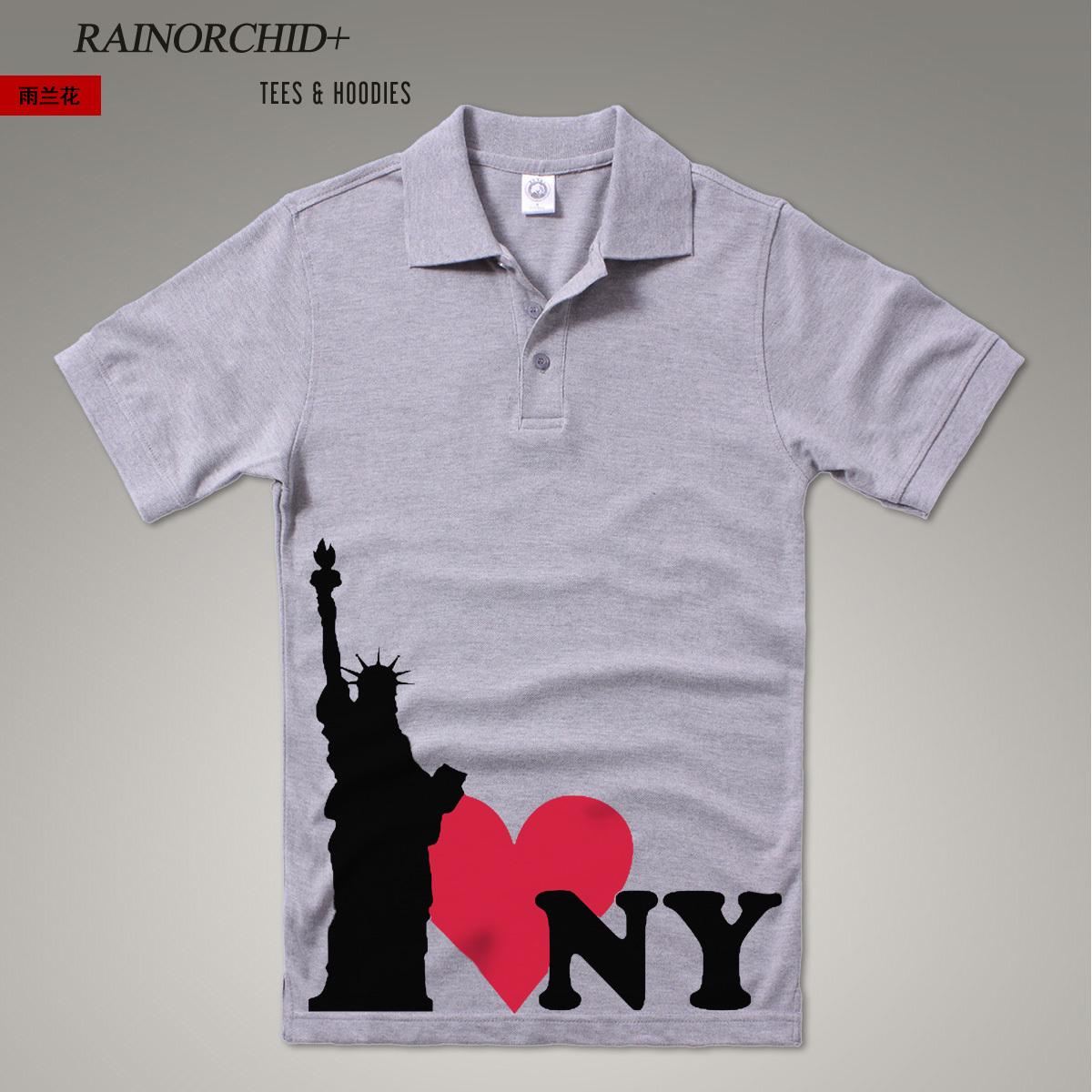 我?9???iny???,?i?_ro【i love ny】我爱纽约自由女神像立领★polo衫短袖