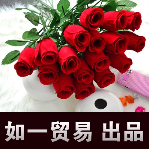 批发 红色玫瑰花苞 仿真绢花新娘手捧花插花材料塑料婚礼喜庆特价