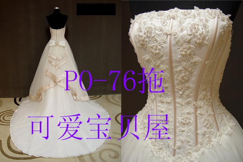 Свадебное платье Милый ребенок фотографии толстый сатин слоновой кости и положить 80 см ручного шитья бисер свадебное платье Po-76 Плотная ткань Длинный шлейф