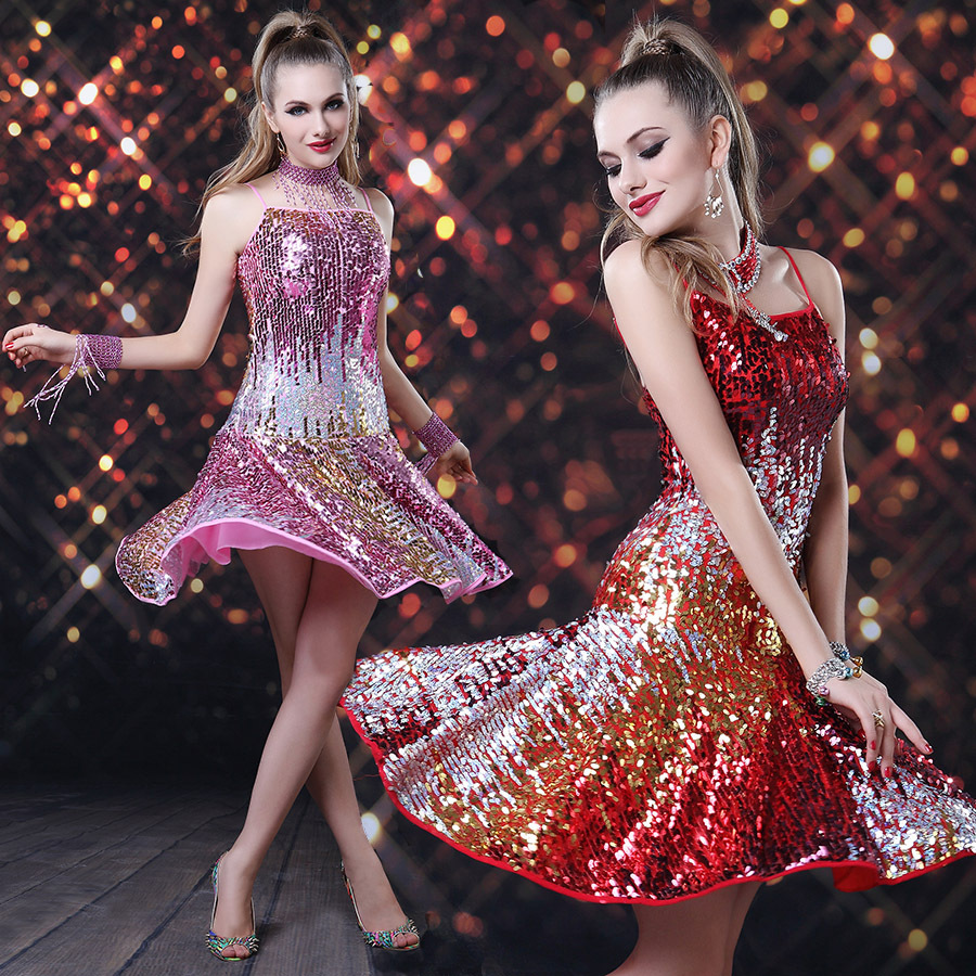 秀色舞吧性感夜店舞台装ds酒吧歌手演出服亮片吊带性感拉丁裙短裙