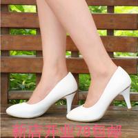 2014秋百语正品新款尖头漆皮高跟鞋浅口细跟职业单鞋白领办公女鞋