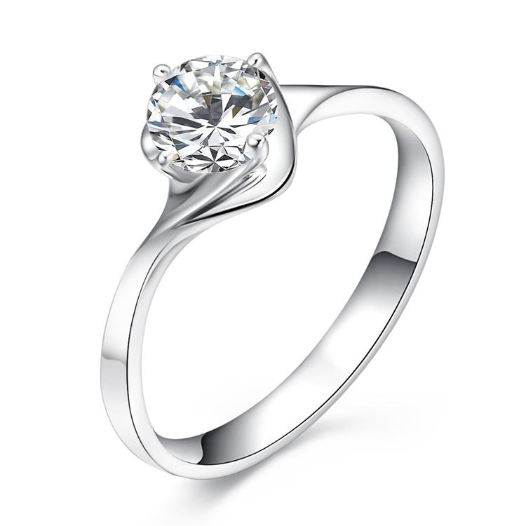 爱度珠宝 戒指女18K白金H色 幸福相约 专柜正品钻戒 裸钻定制
