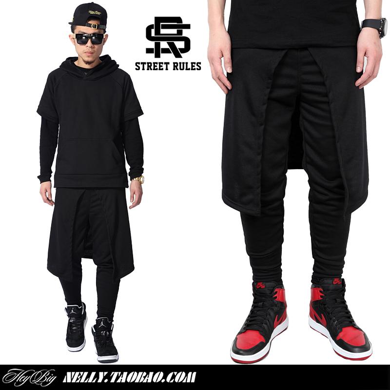 假两件男_street rules 黑色裙休闲裤 裤裙连体长裤 假两件 男裤权志龙gd