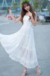 [限时抢购] 日系小清新显瘦连衣裙 重工蕾丝吊带长裙 白色吊带公主裙 仙