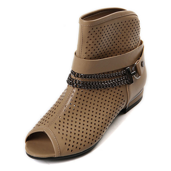 Круглый носок Плоская подошва Без шнуровки На низком каблуке (менее 3 см) Клееная обувь С металлической отделкой, Ажурная отделка Однотонный цвет