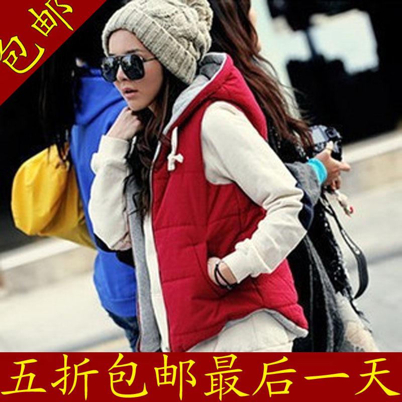 2012秋冬新款 VIVI杂志韩版背心百搭拉链带帽棉马夹马甲外套女款
