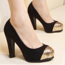 2012新款粗跟防水台亮片圆头夜店高跟时尚单鞋女鞋子