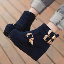 秋冬时尚新款韩版搭扣超高跟坡跟泡沫底套筒短靴女靴子女鞋子潮靴