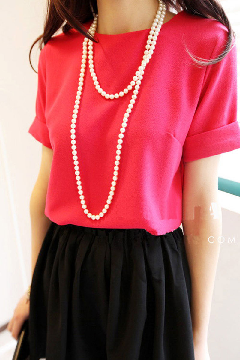 2012春装 新款女装 韩版淑女OL修身雪纺短袖衬衫 女 反折