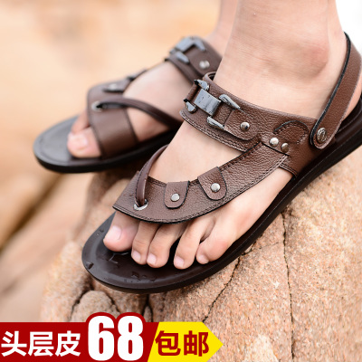 Fox summer breathable men sandals leather slippers clip toe is cool cool shoes male male character of Vietnam