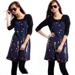 韩版加大码女装时尚气质修身长袖连衣裙子