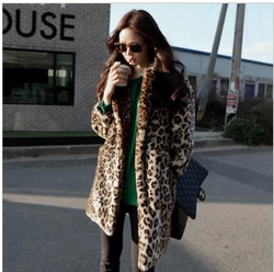 Fans of sexy leopard fleece quality fur coat thick coat