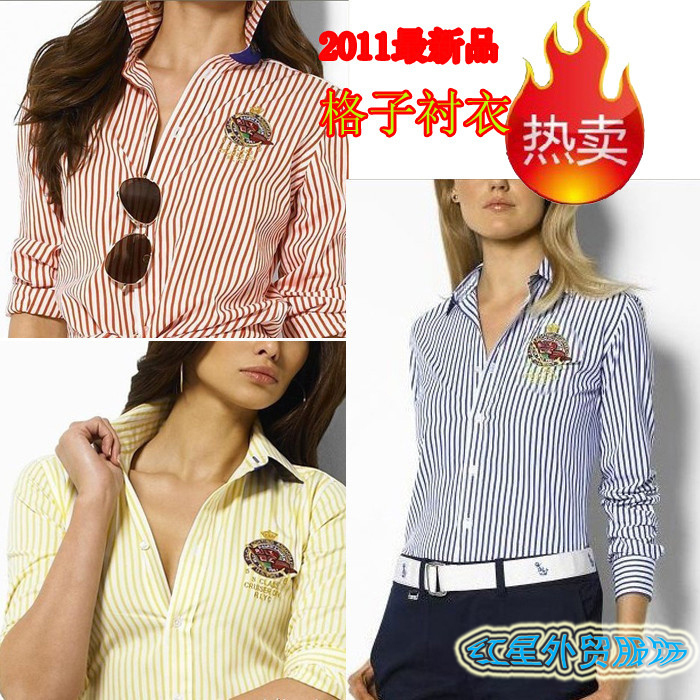 женская рубашка Domestic brands POLO3011 Городской стиль Длинный рукав В полоску