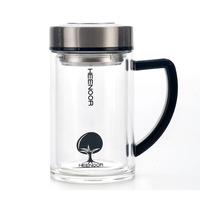 包邮HEENOOR希诺 XN-6721 礼盒双层玻璃保温办公杯带茶隔435ml