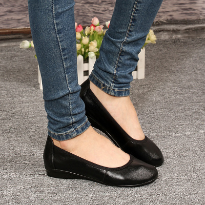 Misi Kang black work shoes women flat shoes, leather shoes, work shoes mom shoes professional stewardess shoes flat shoes