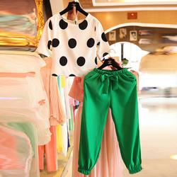 韩版加大号大码女装2014夏欧洲站爆款复古时尚波点雪纺裤休闲套装