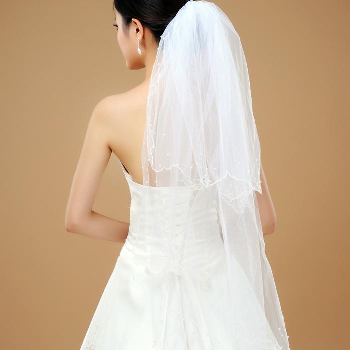 热卖新娘头纱 时尚个性蕾丝花边简约头纱 新娘头饰 婚纱配件