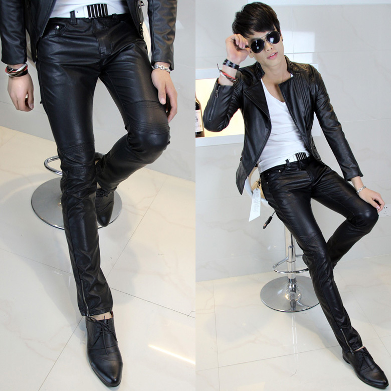 New wave of men's pants, men Han slim men and small feet tight leather pants personality sportsman men's leather pants leather pants