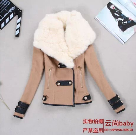 2013 Winter Women's New England style woolen coat fur collar oblique zipper large Korean version of Slim woolen suit