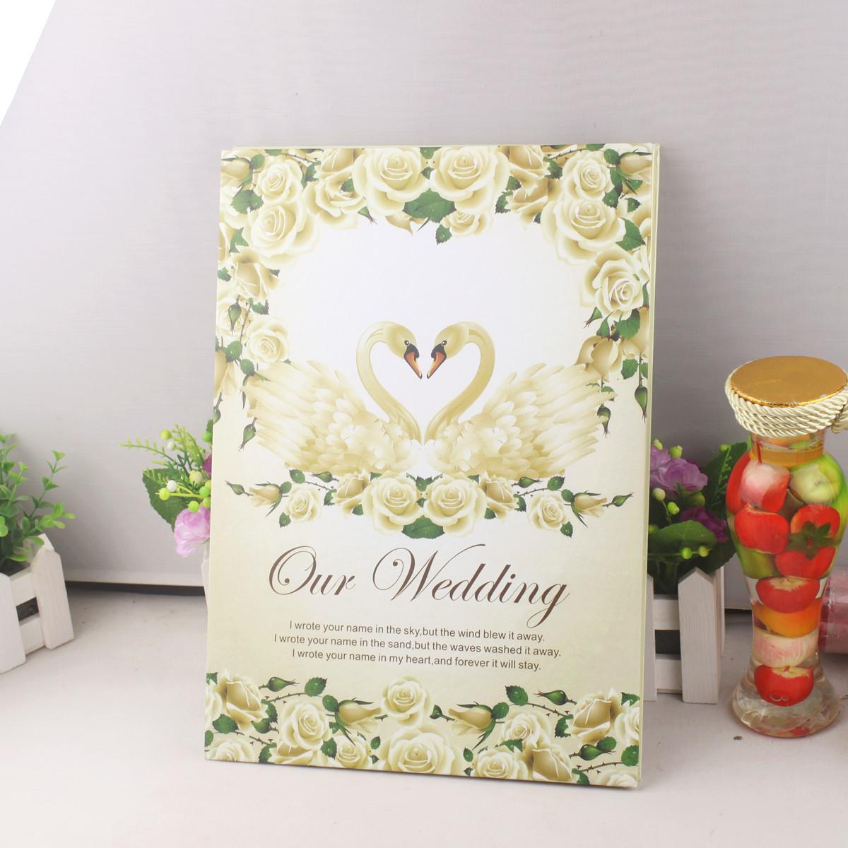 婚庆签到簿 婚礼嘉宾签名册 欧式签到册 个性签到本 天鹅之恋