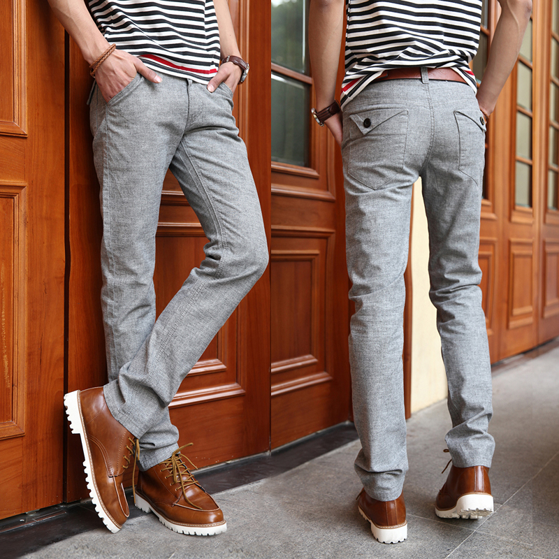 Thin cotton elastic casual pants Male linen trousers men's cotton and linen trousers male pants pants Taobao Agent