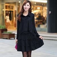2016胖妹妹新款加肥加大码女装韩版显瘦蕾丝雪纺长袖 秋装连衣裙