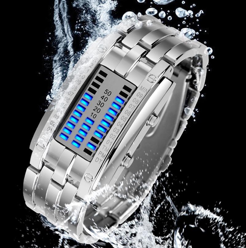 正品时刻美男士韩国潮流时尚LED手表女款防水创意复古手表腕表